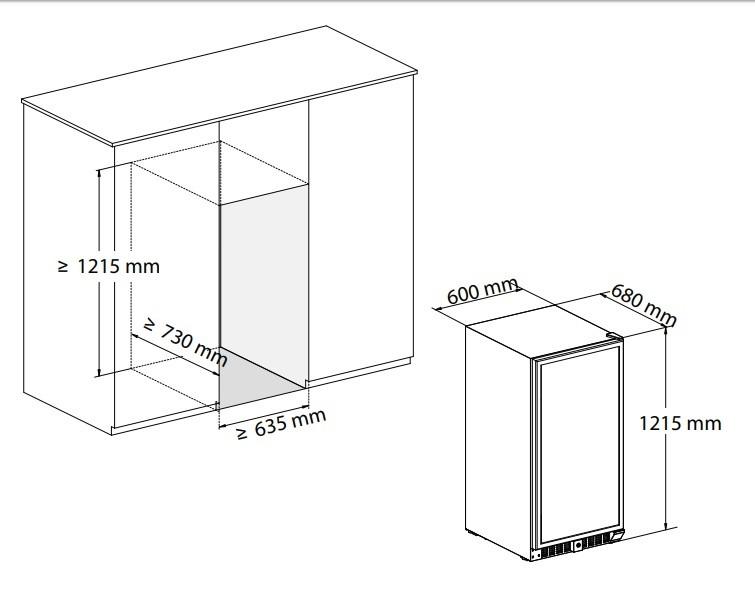 Adega Vetro 87 Garrafas Dual Zone Built-In Elettromec