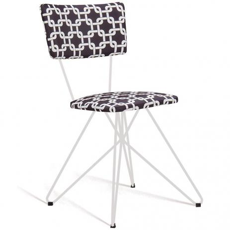Cadeira Butterfly Estofada Preto/Branco Tecido Suede