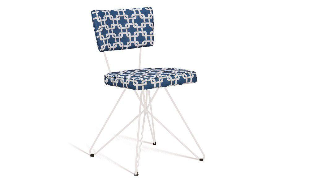 Cadeira Butterfly Retro Azul/Branco Tecido Suede
