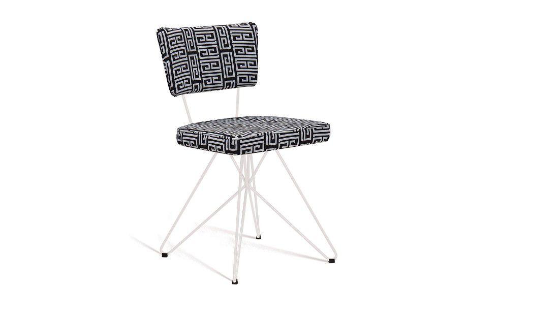 Cadeira Butterfly Retro Preto/Branco Tecido Suede