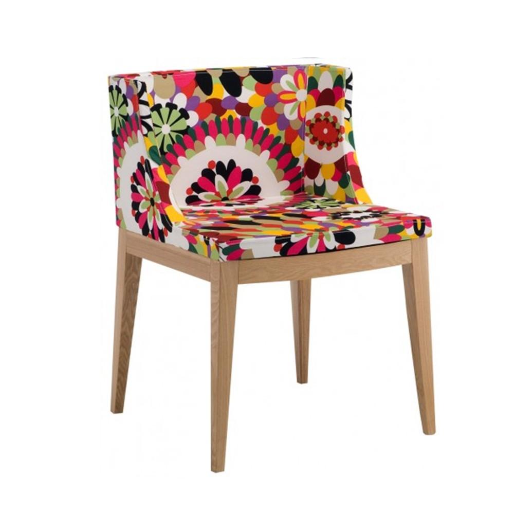 Cadeira Christie Estampas Florais Base Madeira Clara Rivatti