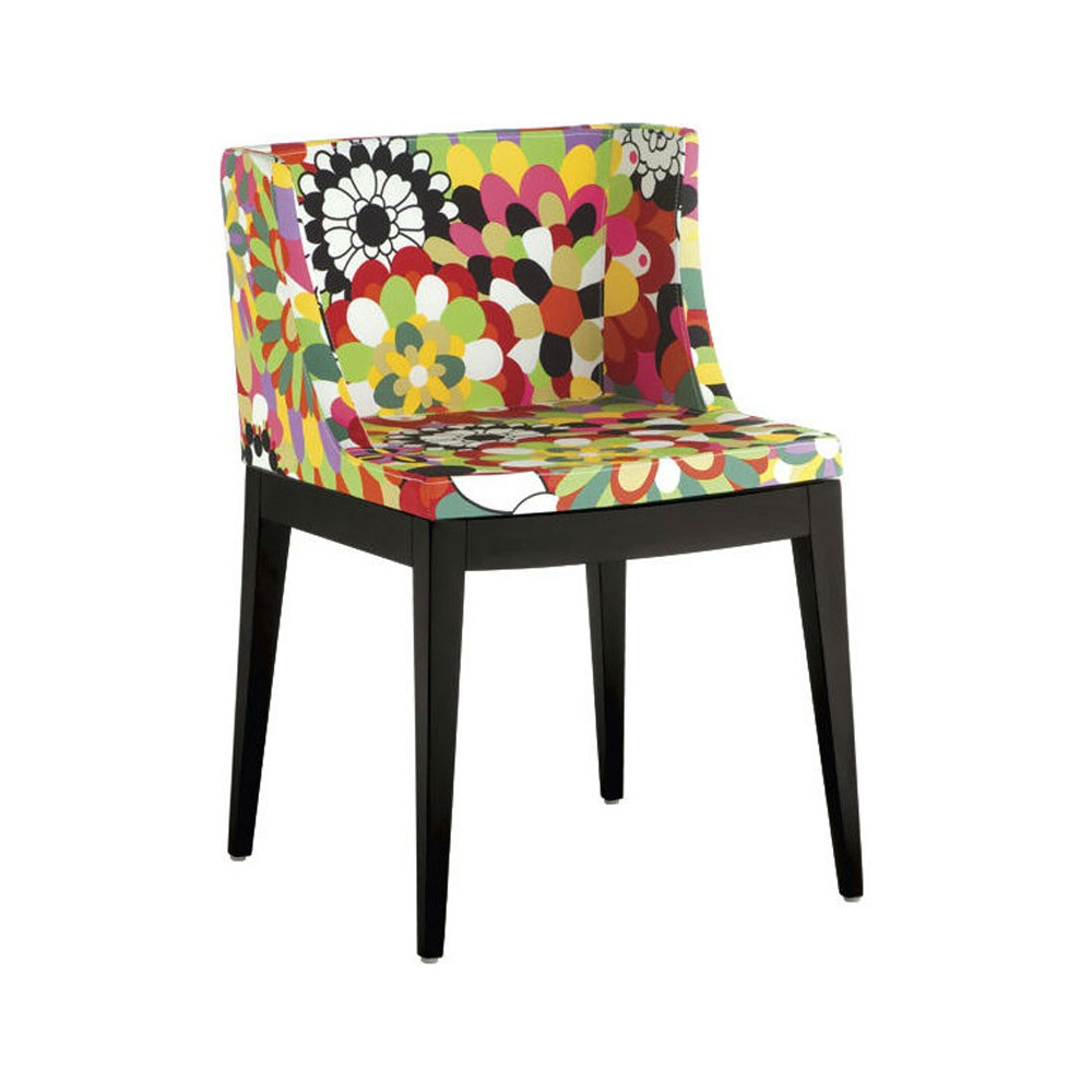 Cadeira Christie Estampas Florais Base Madeira Escura Rivatti