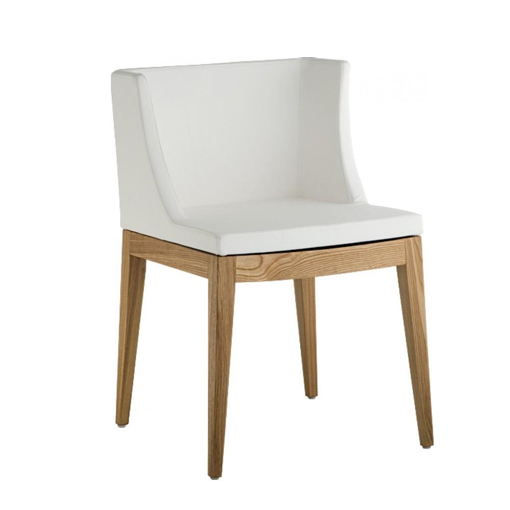 Cadeira Christie PU Base Madeira Clara Rivatti