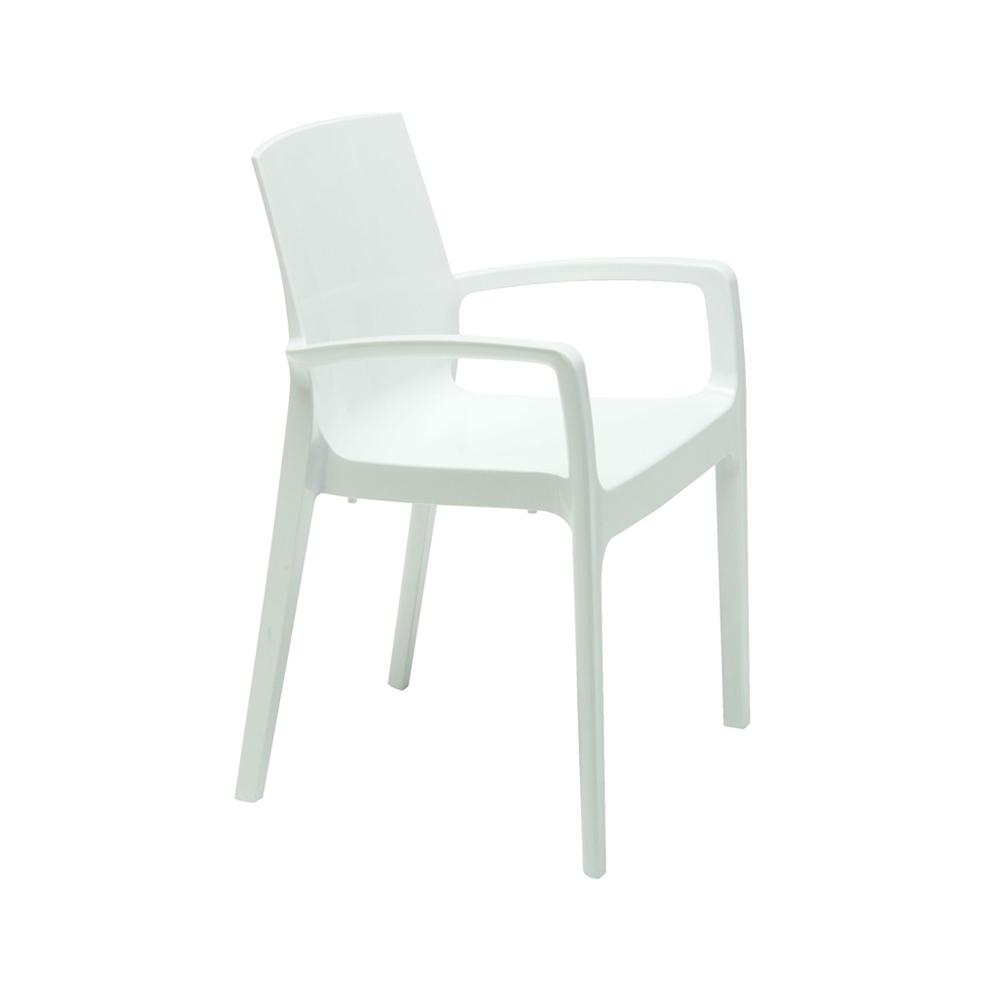 Cadeira Cream Com Braços Polipropileno Rivatti