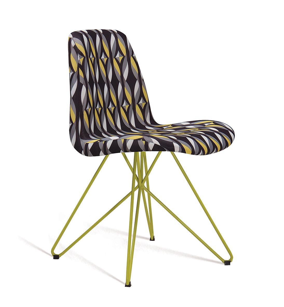 Cadeira Eames Butterfly Color Preto Base Amarela Tecido Suede DAF