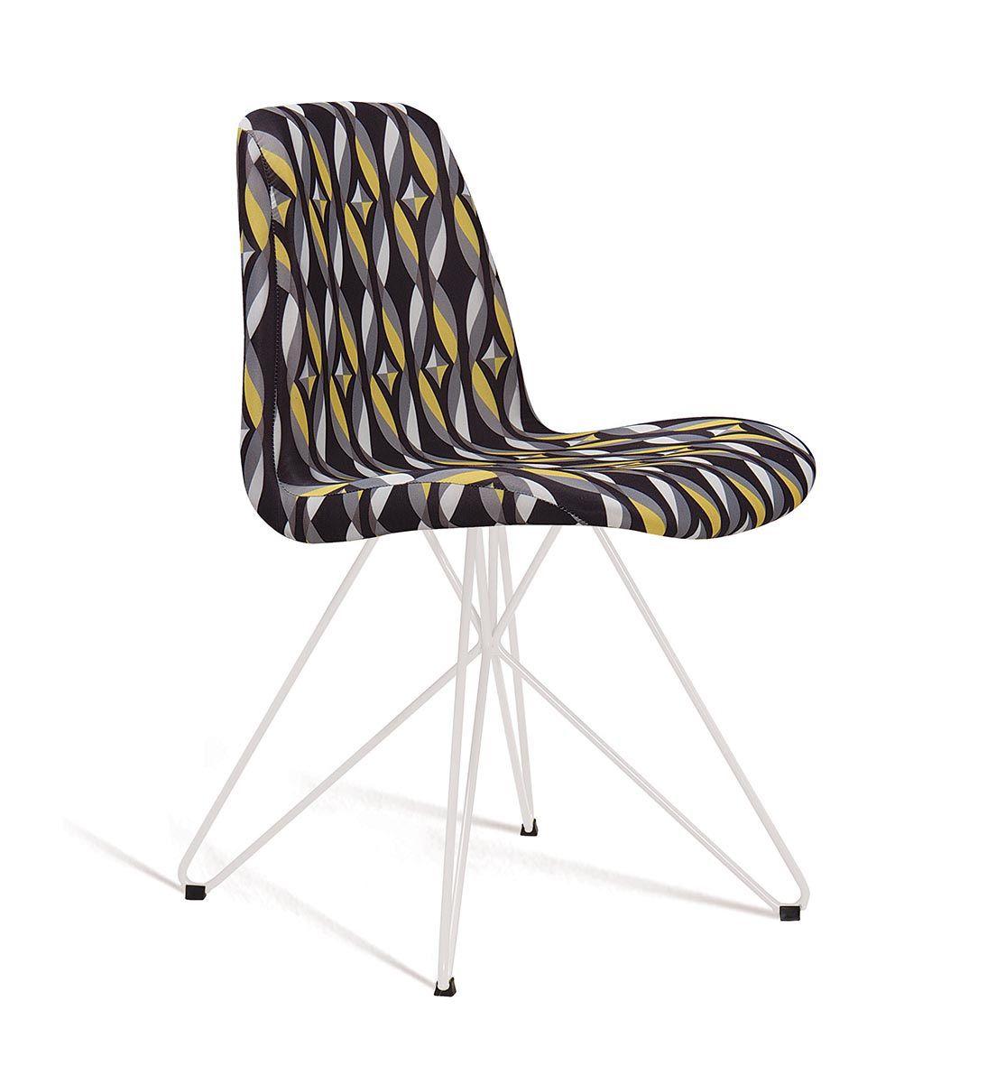Cadeira Eames Butterfly Color Preto Base Branca Tecido Suede DAF