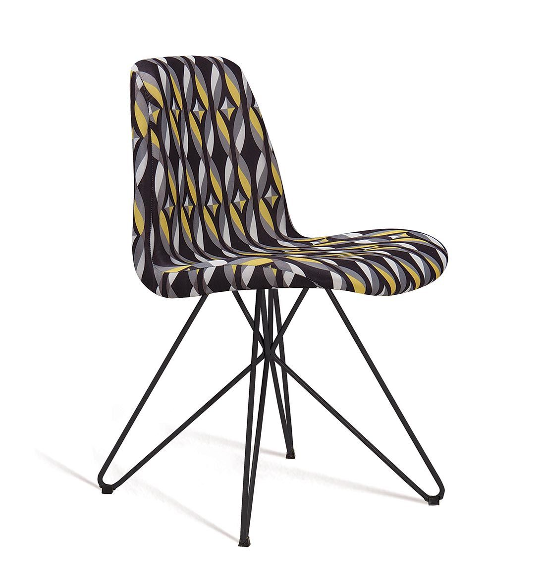 Cadeira Eames Butterfly Color Preto Base Preta Tecido Suede DAF