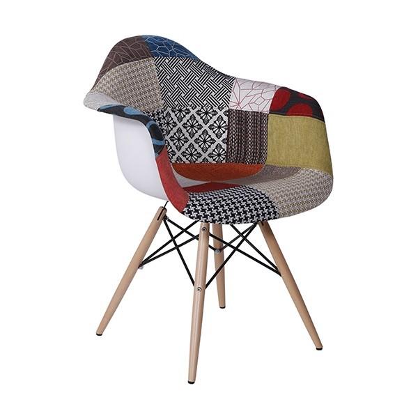 Cadeira Eames Com Braço Patchwork Base Madeira OR Design