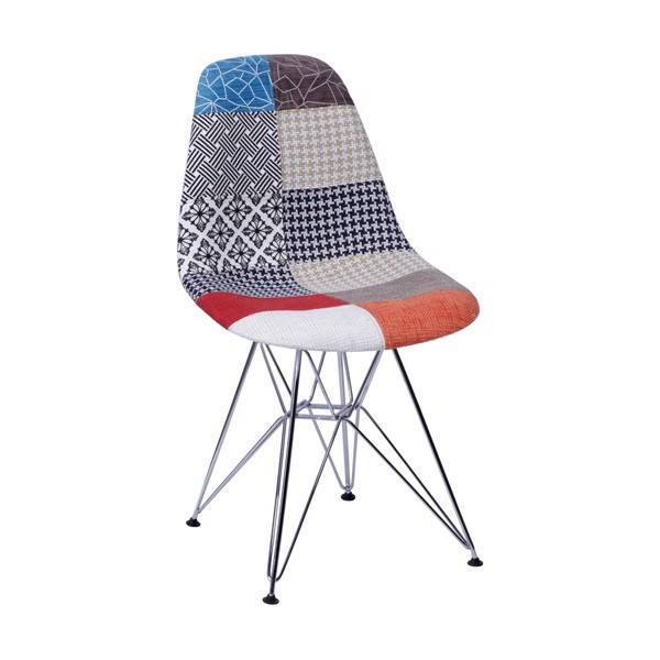 Cadeira Eames Estofada Patchwork Base Cromada OR Design