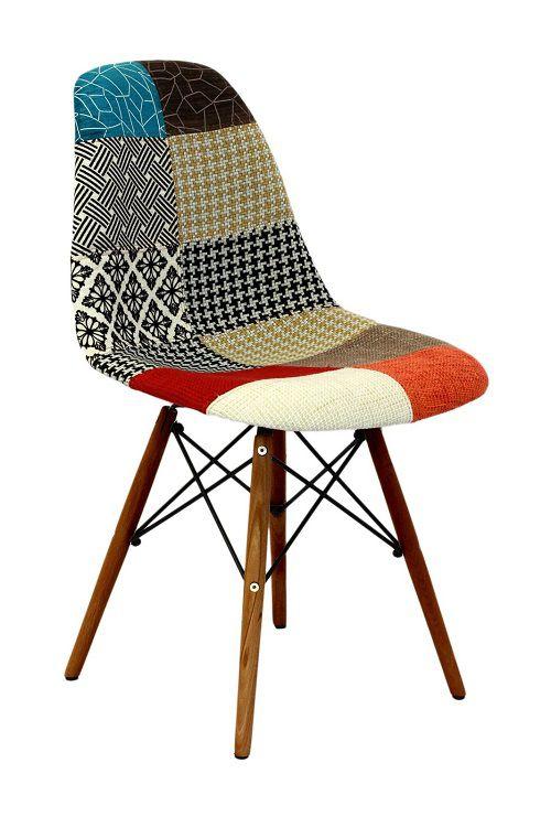 Cadeira Eames Estofada Patchwork Base Escura OR Design