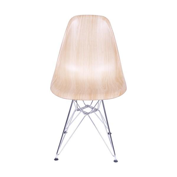 """Cadeira Eames Polipropileno """"Madeira"""" Base Cromada OR Design"""