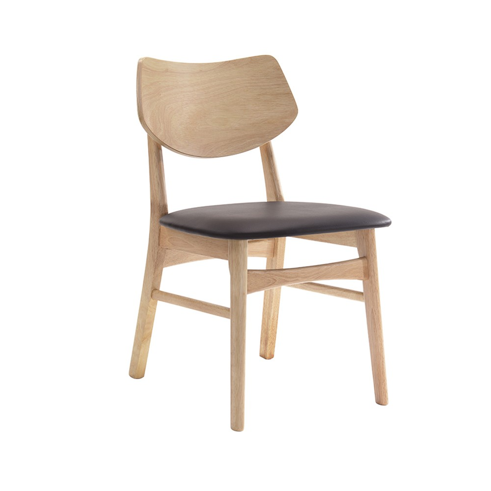 Cadeira Edna Assento PVC Base Madeira Rivatti