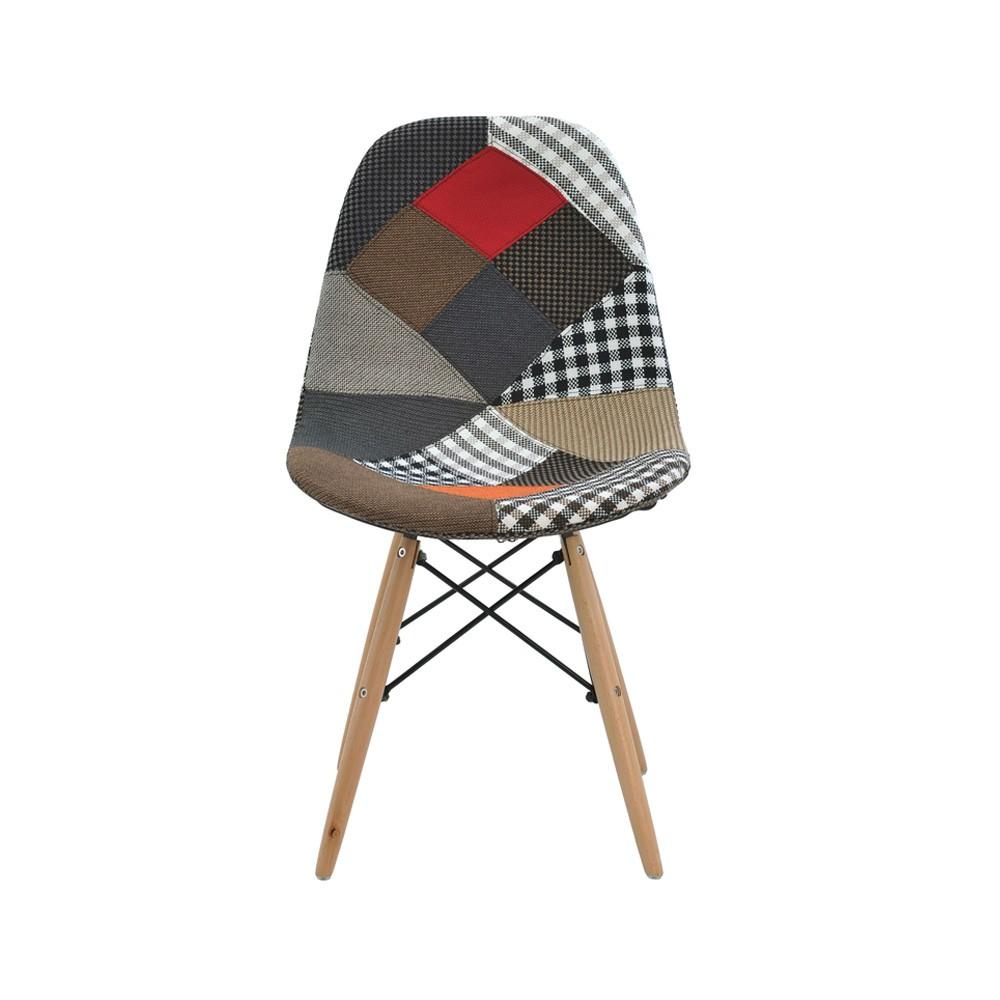 Cadeira Eiffel Patchwork Base Madeira Rivatti