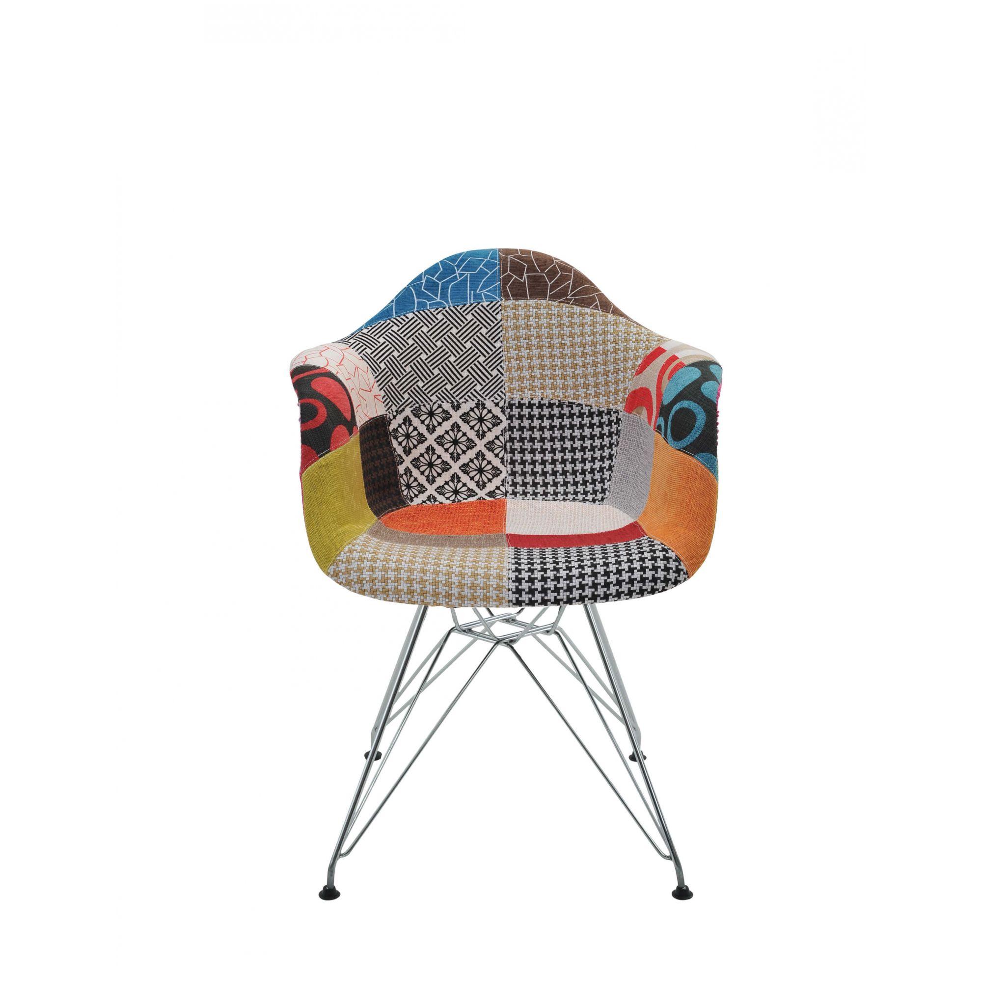 Cadeira Eiffel Patchwork Com Braço Base Cromada Rivatti