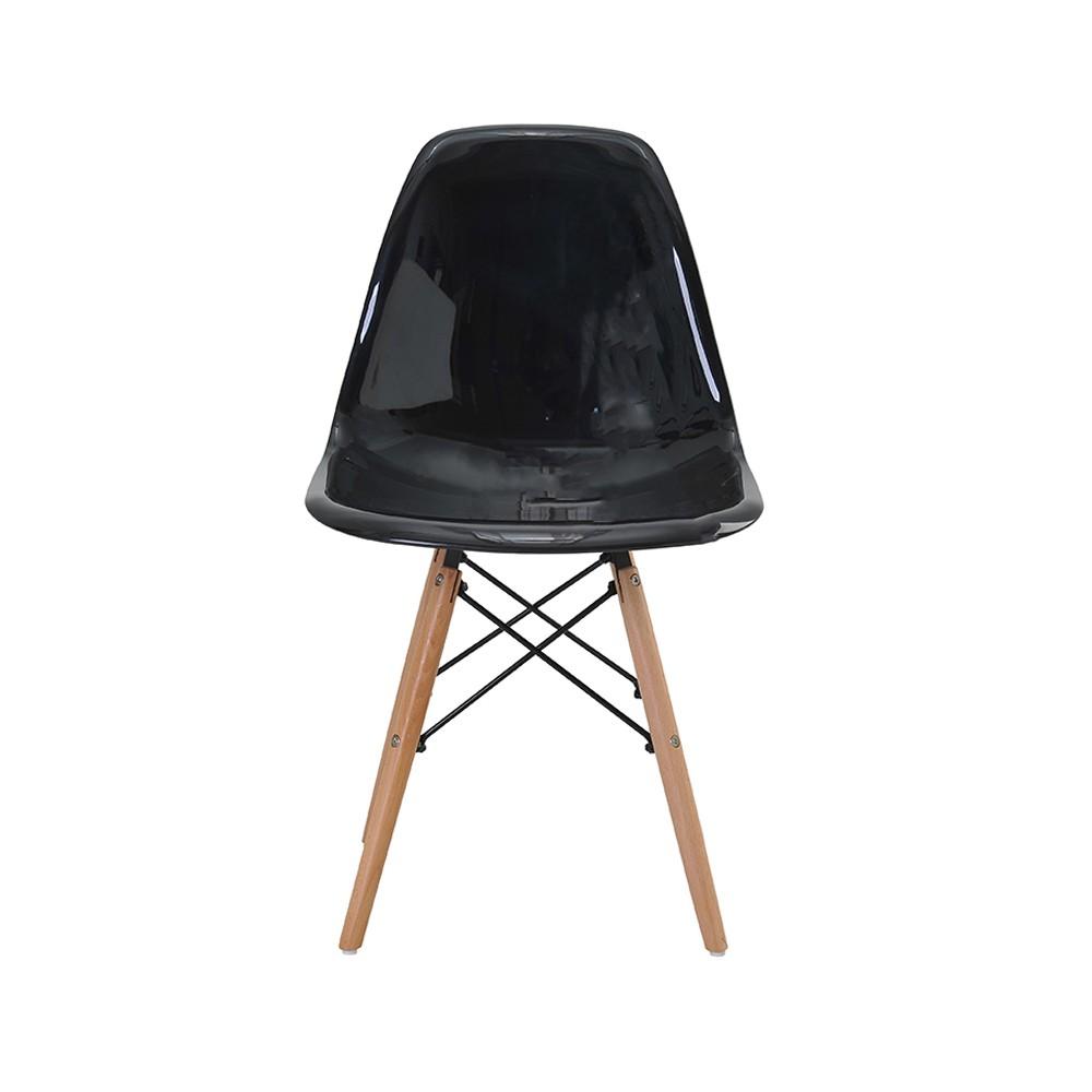Cadeira Eiffel Policarbonato Base Madeira Rivatti