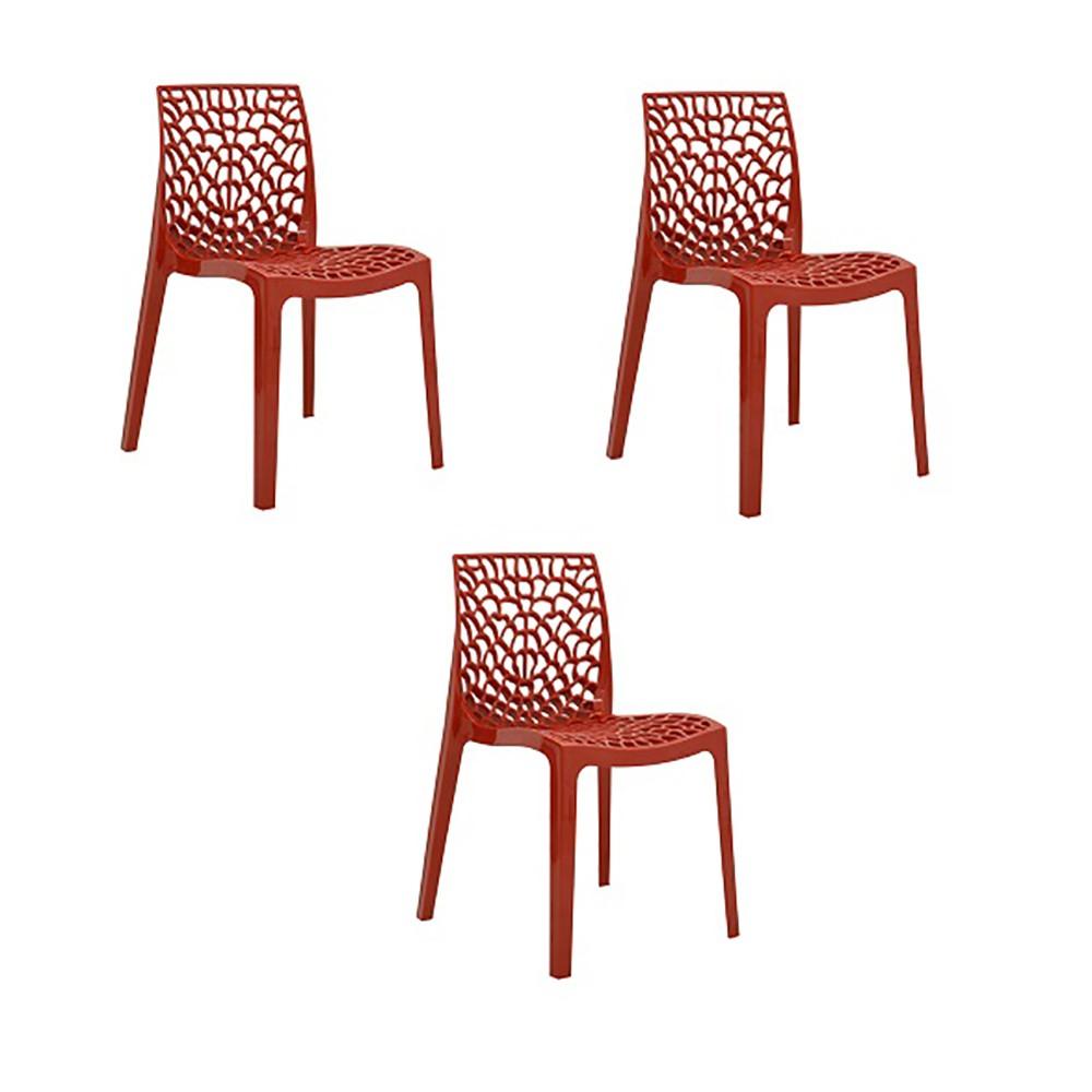 Cadeira Gruvyer Polipropileno Alto Brilho Rivatti 3 Und