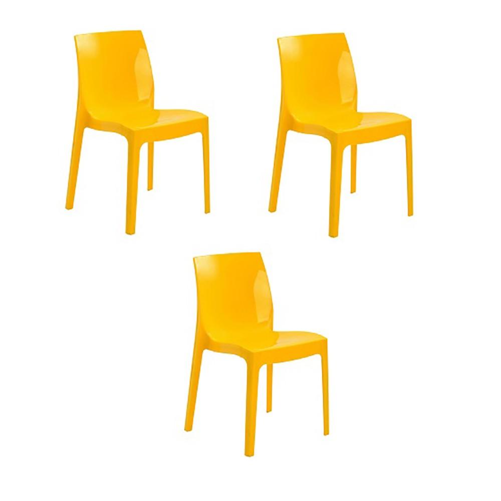 Cadeira Ice Polipropileno Alto Brilho Rivatti 3 Und