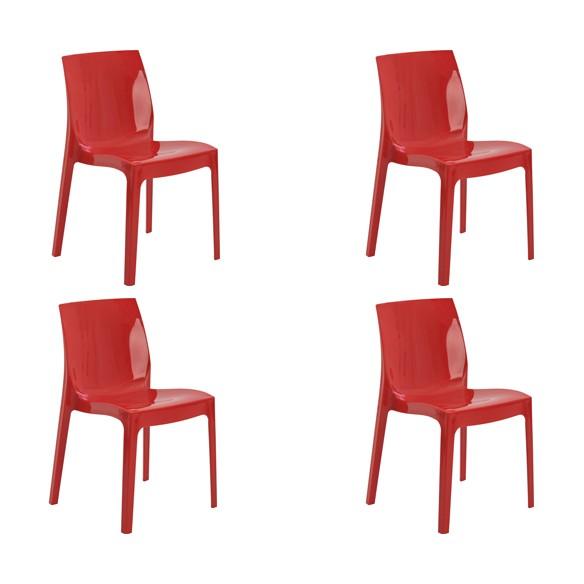 Cadeira Ice Polipropileno Alto Brilho Rivatti 4 Und