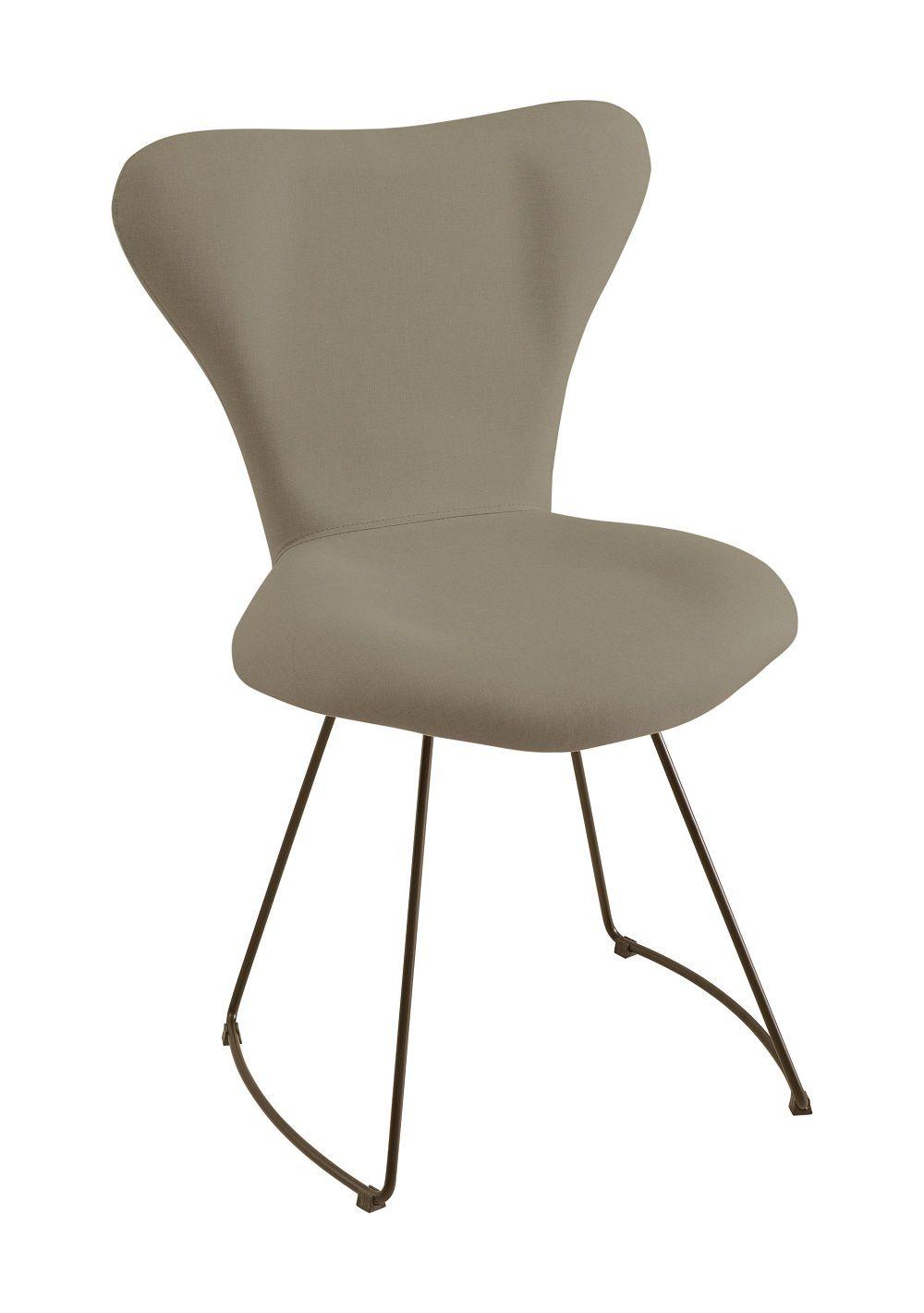 Cadeira Jacobsen Aço Cinza Tecido Linho DAF