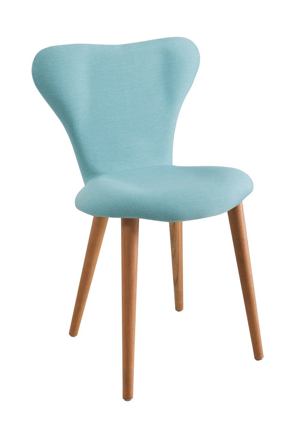 Cadeira Jacobsen  Azul Turquesa Tecido Linho DAF