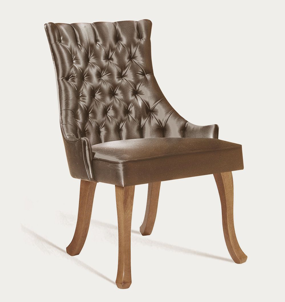 Cadeira Luis XV Dourada Tecido em Cetim DAF