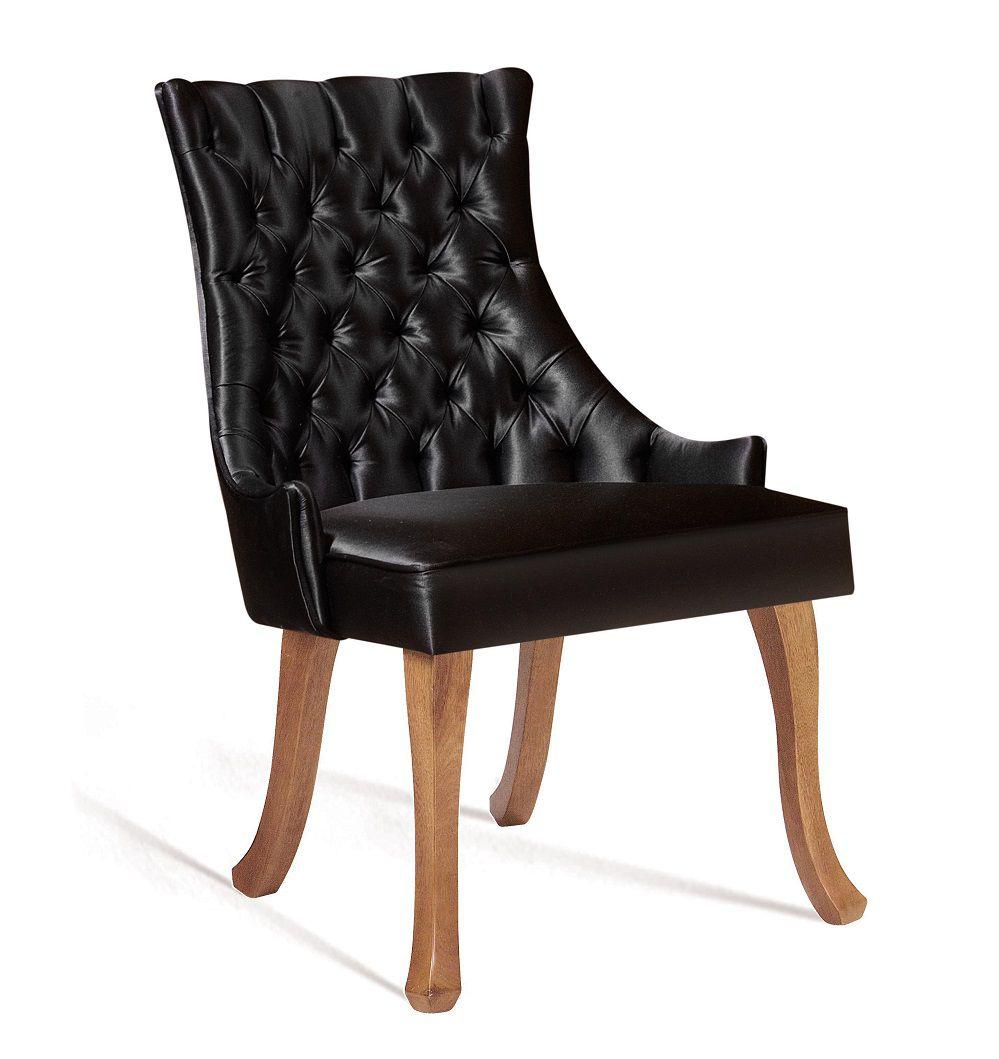 Cadeira Luis XV Preta Tecido em Cetim DAF