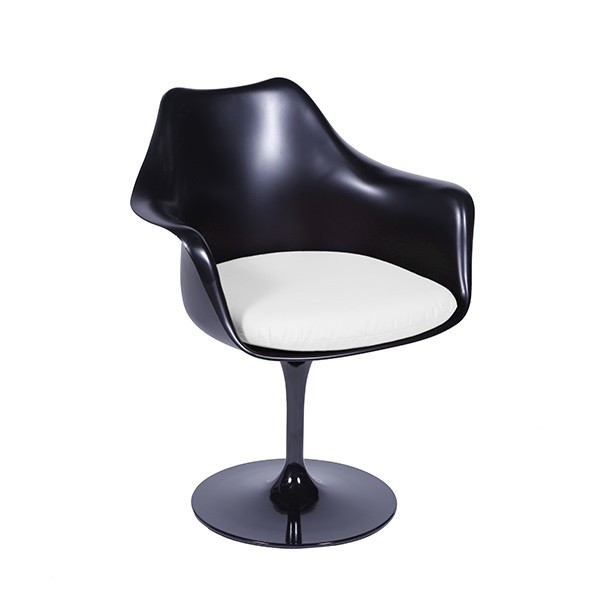 Cadeira Saarinen Com Braço Preta Almofada de Diversas Cores OR Design