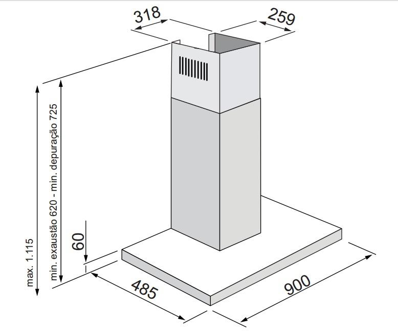 Coifa Adria Ilha 90 cm Elettromec