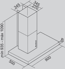 Coifa Lux Parede 90 cm Falmec