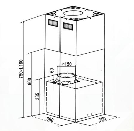 Coifa Proteus Ilha 35 cm Elettromec