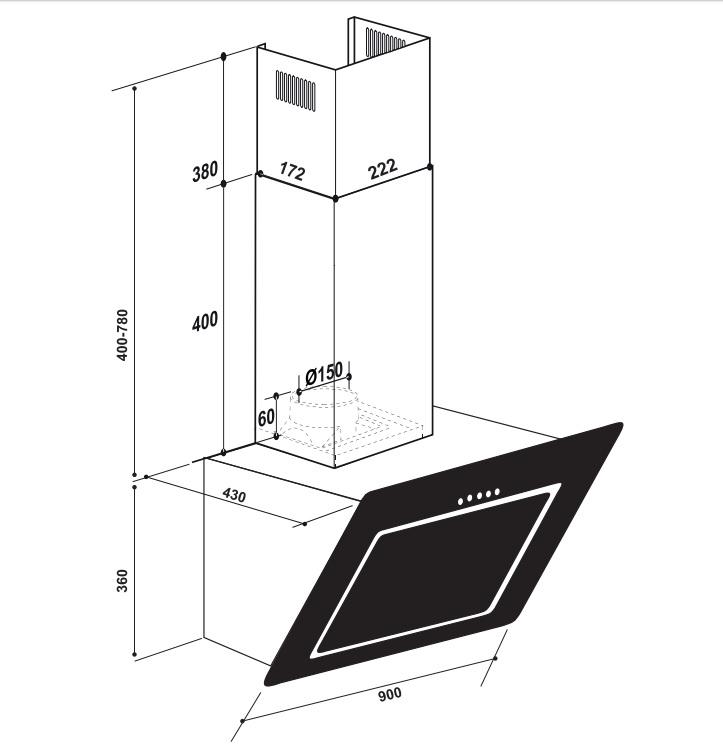 Coifa Serata Parede 90 cm Elettromec