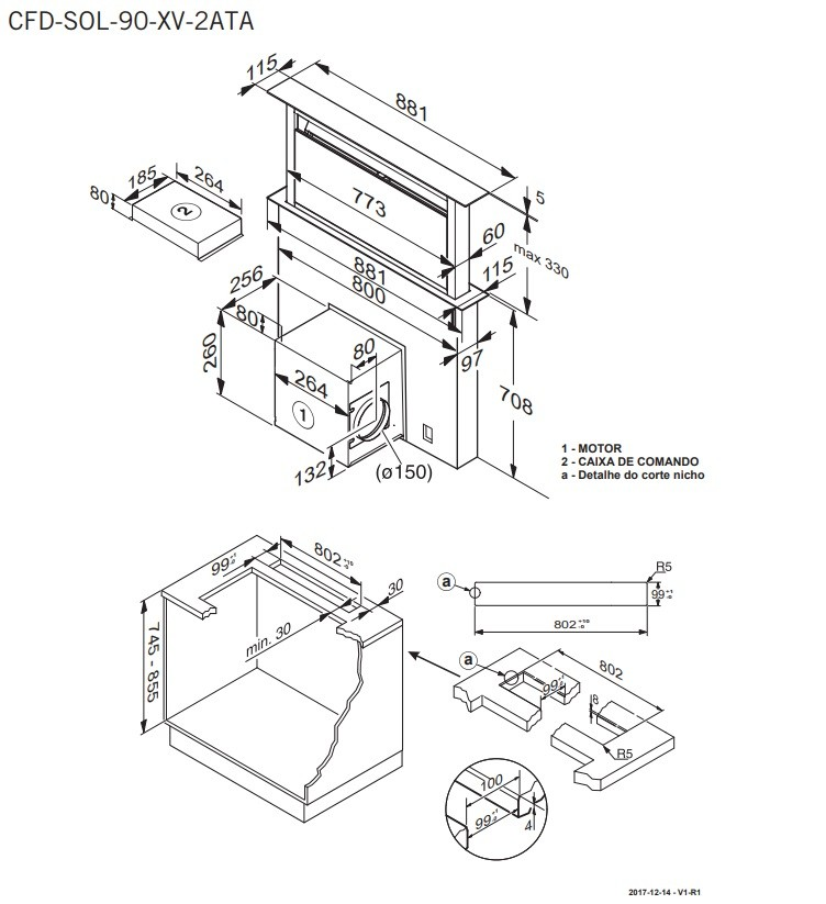 Coifa Sollevare Bancada Downdraft 90 cm Elettromec