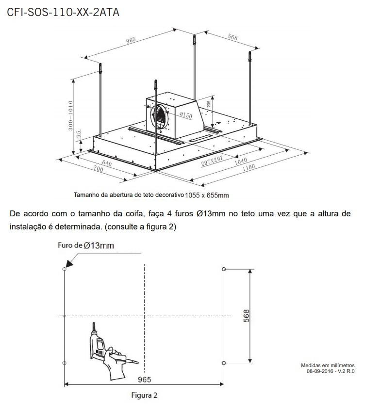 Coifa Sospesa Ilha Embutir 110 cm Elettromec