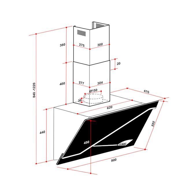 Coifa Stile Parede 90 cm Elettromec