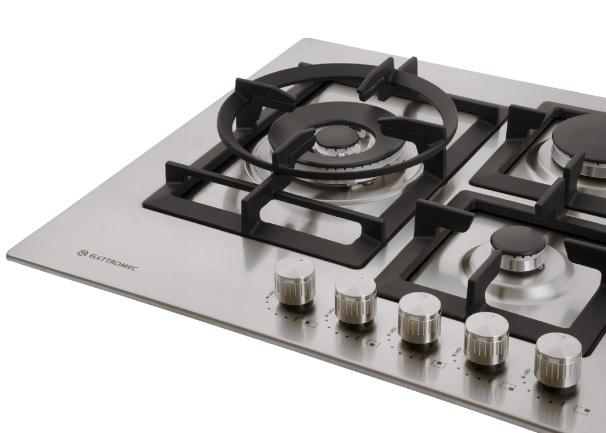 Cooktop Quadratto A Gás 5 Queimadores 75 cm Elettromec