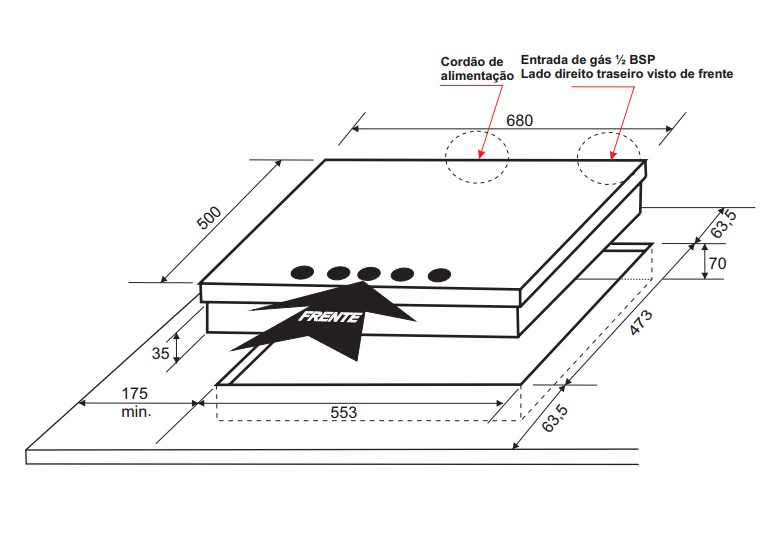 Cooktop Massima A Gás 5 Queimadores 70 cm Elettromec