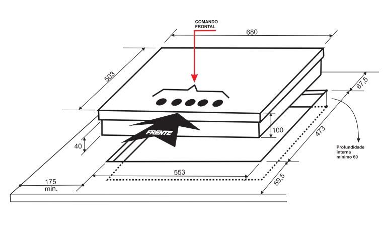 Cooktop Bistequeira A Gás 5 Queimadores 70 cm Elettromec
