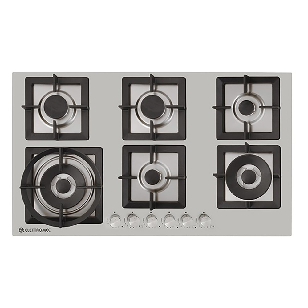 Cooktop Quadratto A Gás 6 Queimadores 90 cm Elettromec