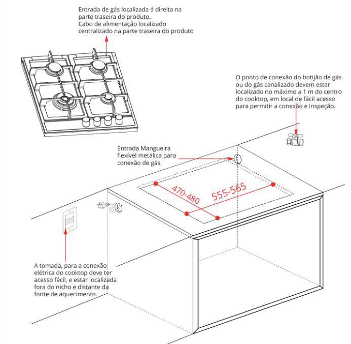 Cooktop Vetro 4 Queimadores a Gás 60 cm - Elettromec