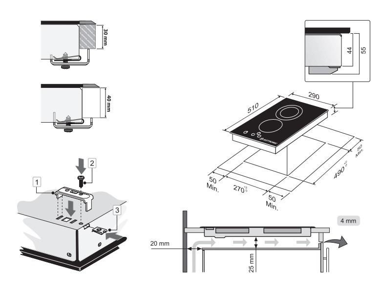 Dominó Vitrocerâmico 2 Queimadores 30 cm Elettromec
