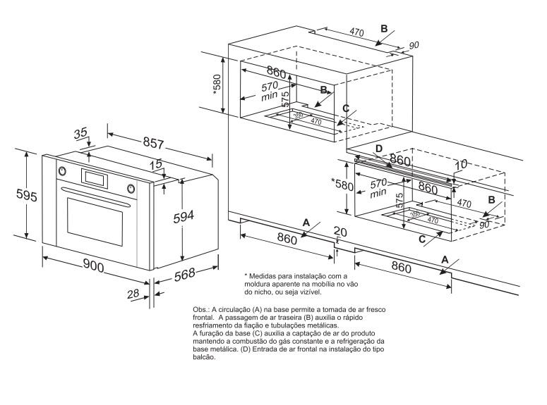 Forno Luce Gás 60 cm Elettromec