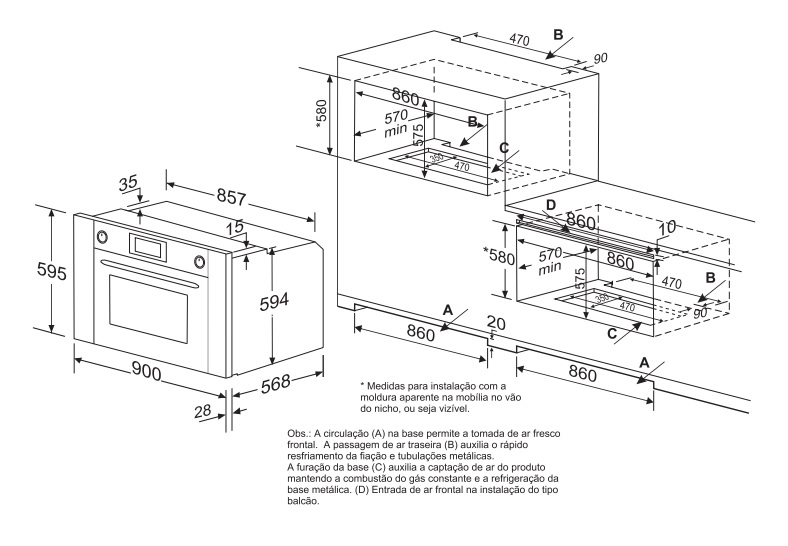 Forno Luce Multifunção Eletrônico 90 cm Elettromec