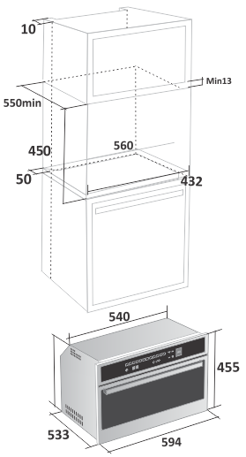 Forno Micro-ondas  Gourmet 60 cm Falmec