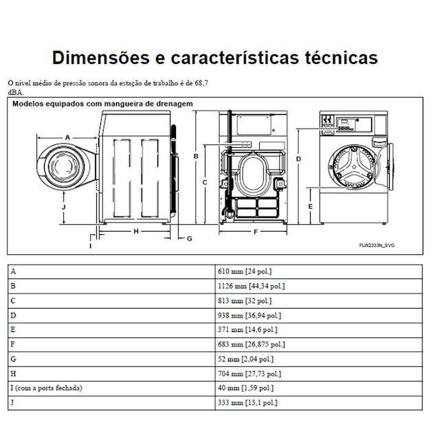 Lavadora Comercial Speed Queen de Carga Frontal MDC 9,5 Kg Branca sem Cofre e Ficheiro