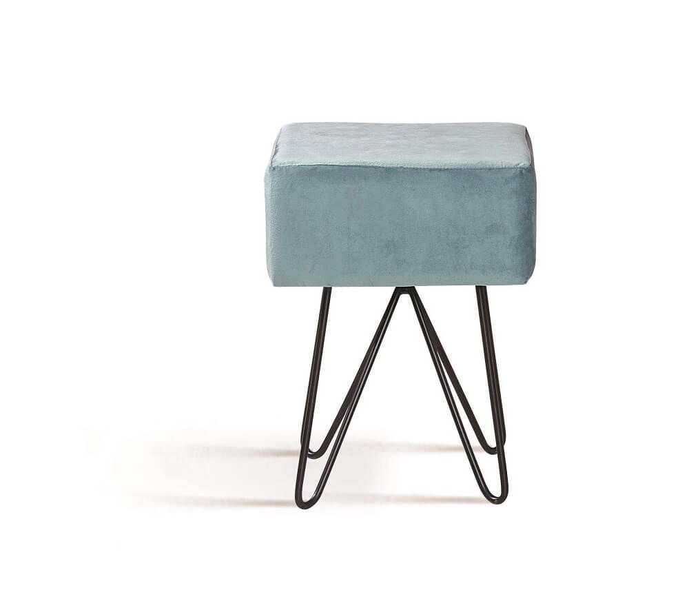 Puff Box Aço Azul Tecido Veludo DAF