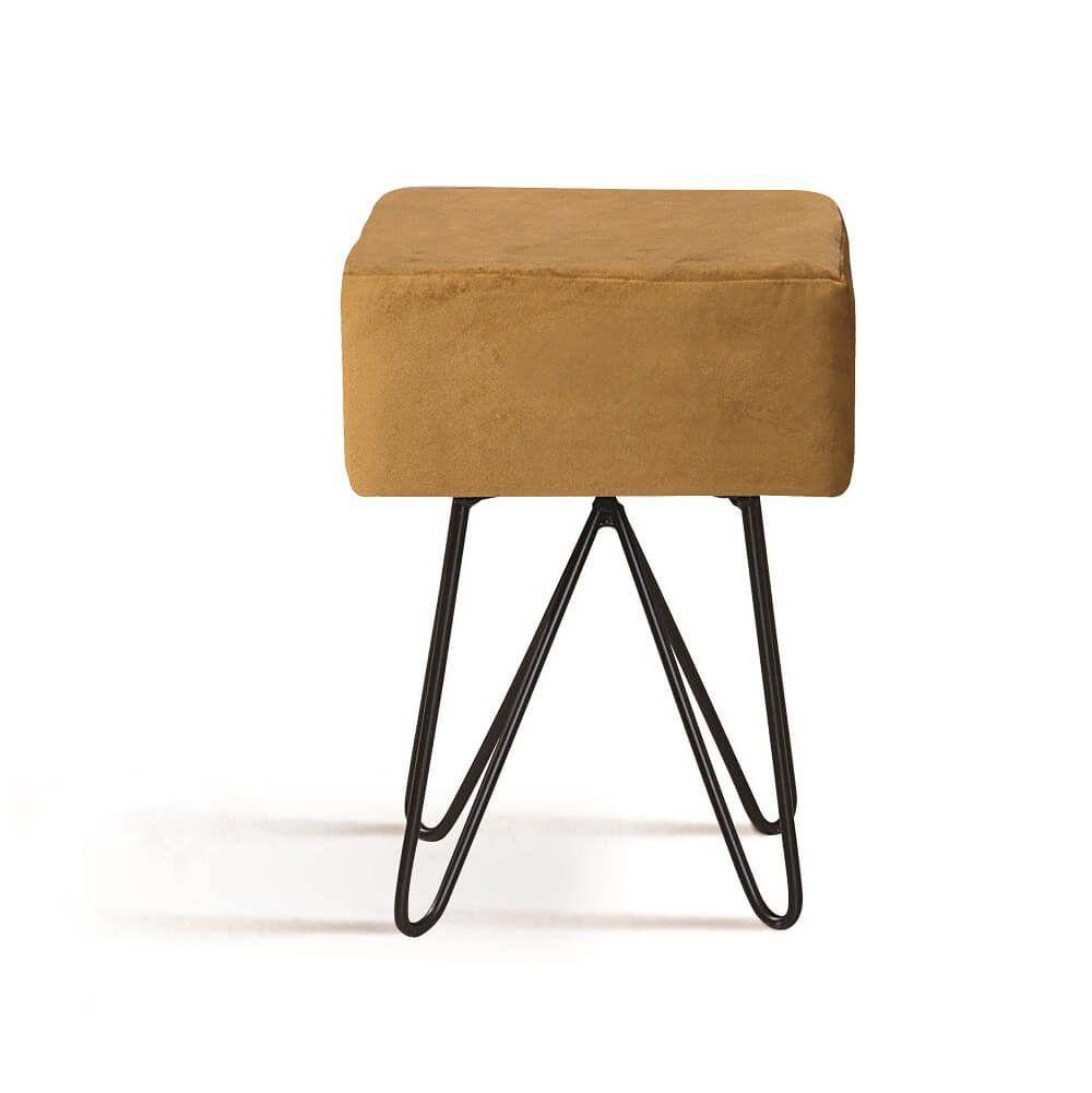 Puff Box Aço Dourado Tecido Veludo DAF