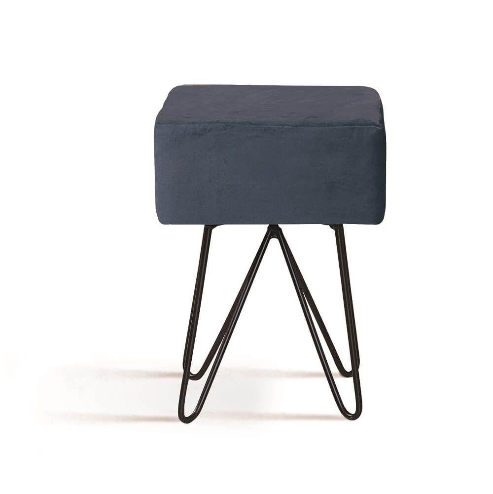 Puff Box Aço Azul Marinho Tecido Veludo DAF