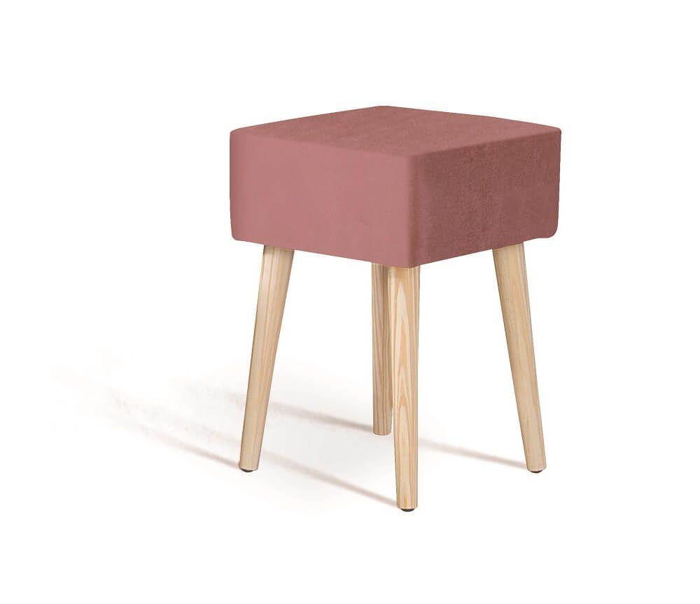 Puff Box Madeira Rosa Tecido Veludo DAF