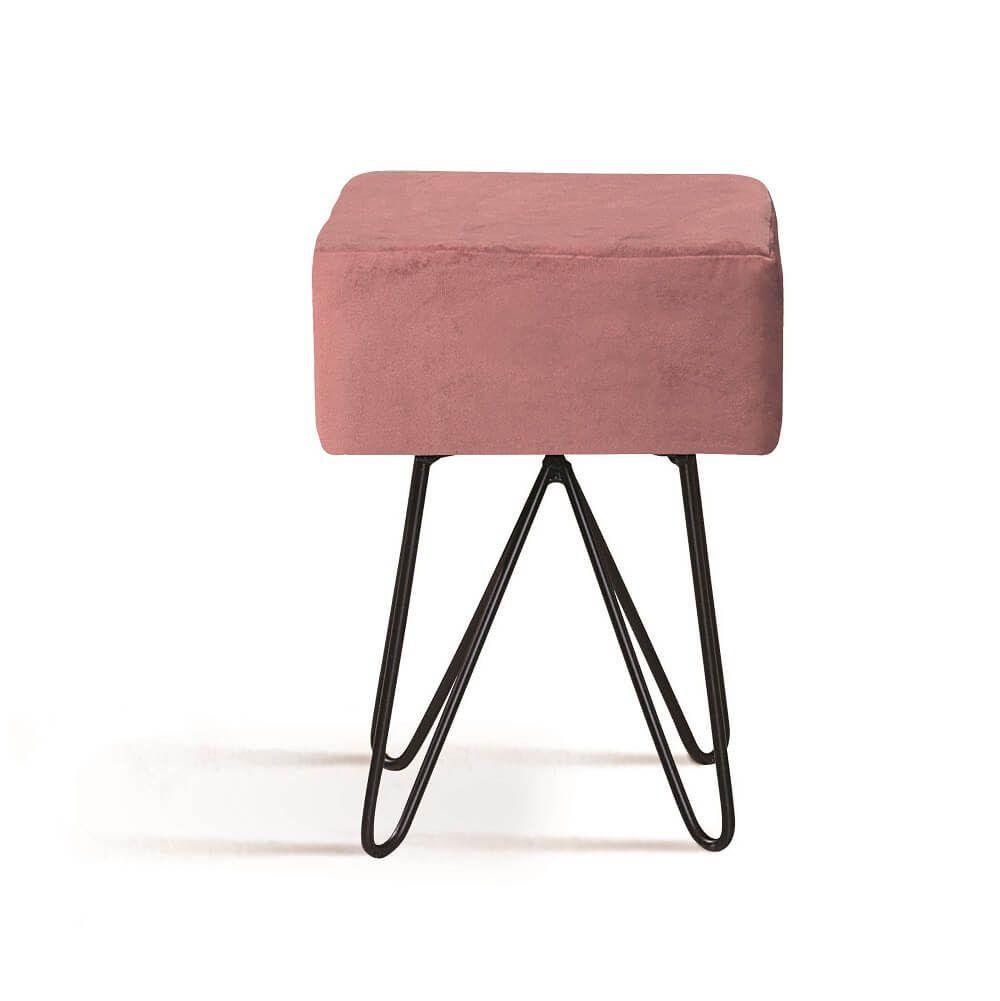 Puff Box Aço Rosa Tecido Veludo DAF