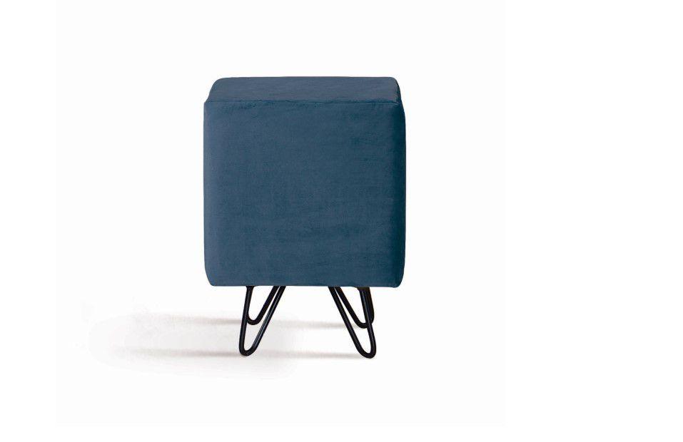 Puff Dado Azul Marinho Tecido Veludo